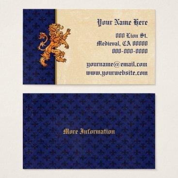 Linda_MN Medieval Gold Lion Blue Fleur de Lis Business Card