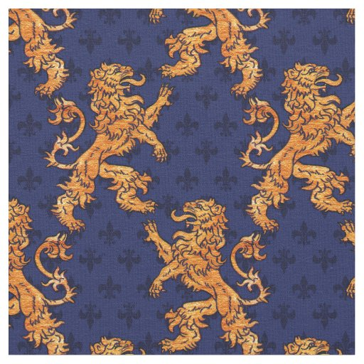 Medieval Gold Lion Blue Fleur De Lis Fabric Zazzle Com