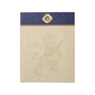 Medieval Gold Lion Blue Fleur de Lis Notepad