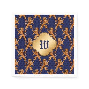 linda_mn Medieval Gold Lion Blue Fleur de Lis Paper Napkin