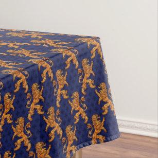Medieval Gold Lion Blue Fleur De Lis Tablecloth