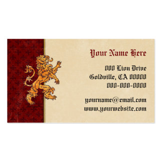Medieval Gold Lion Red Fleur de Lis Business Card