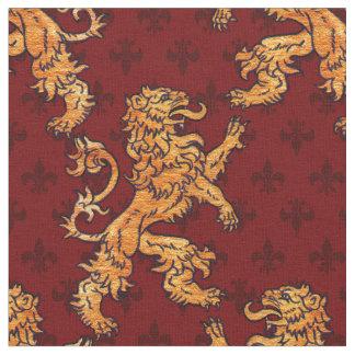 Medieval Gold Lion Red Fleur de Lis Fabric