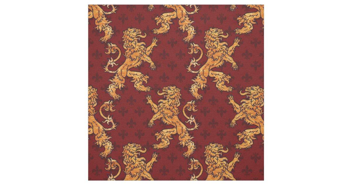 Medieval Gold Lion Red Fleur De Lis Fabric Zazzle Com