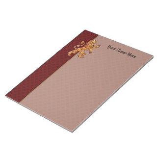 Medieval Gold Lion Red Fleur de Lis Notepad
