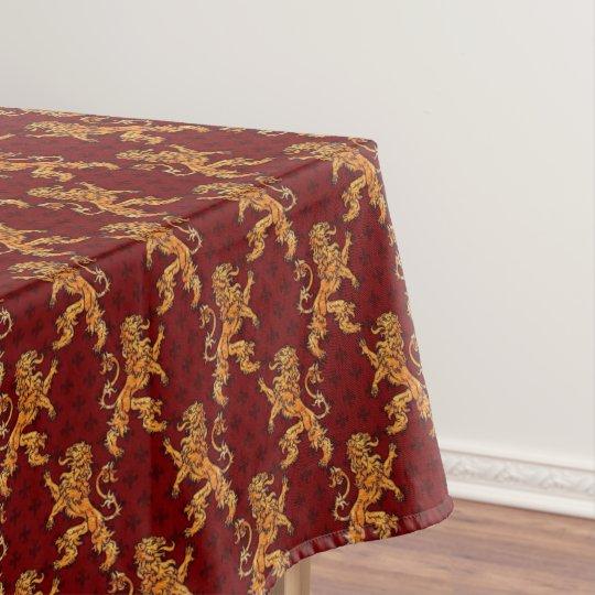 Charmant Medieval Gold Lion Red Fleur De Lis Tablecloth