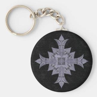Medieval gothic fantasy cross basic round button keychain