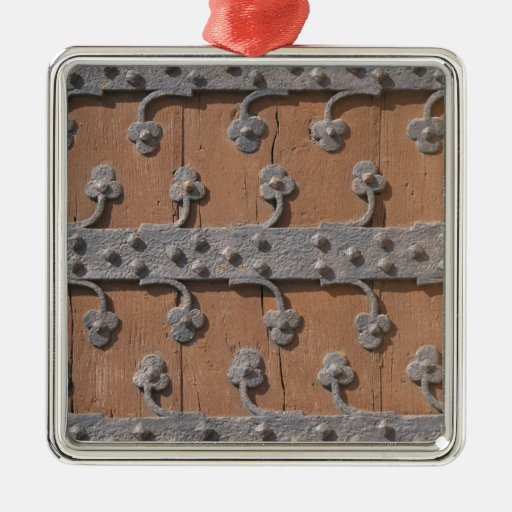 Medieval gothic gate square metal christmas ornament