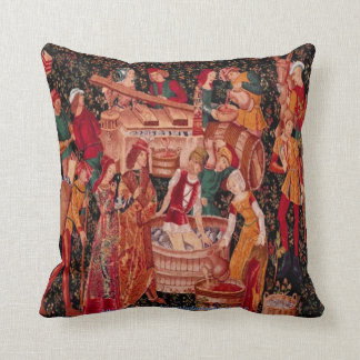 """"""" Medieval Grape Harvest Wall Tapestry"""" Throw Pillow"""