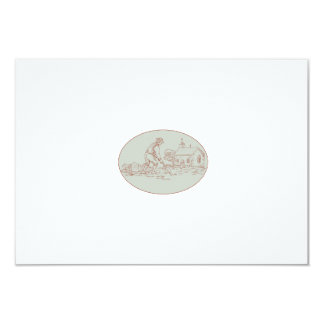 Medieval Grave Digger Shovel Oval Drawing Card