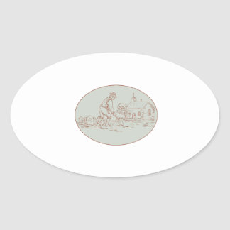 Medieval Grave Digger Shovel Oval Drawing Oval Sticker