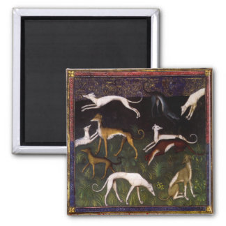 Medieval Greyhound Dogs in the Woods 2 Inch Square Magnet