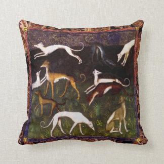 Medieval Greyhound Dogs on Paisley Throw Pillows