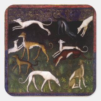 Medieval Greyhounds Fine Art Animals Square Sticker
