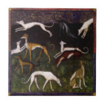 """Medieval Greyhounds Fine Art Ceramic Tile<br><div class=""""desc"""">Elegant Hounds in Medieval Forest Medieval Greyhound dogs frolic in a fantasy forest in this fine art painting reproduction. These elegant athletic animals make wonderful modern-day pets. Adopt a greyhound. Make a fast friend.</div>"""
