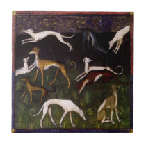 Medieval Greyhounds Fine Art Ceramic Tile