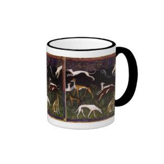 Medieval Greyhounds Fine Art Ringer Coffee Mug