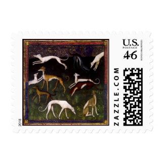 Medieval Greyhounds Fine Art Postage Stamps