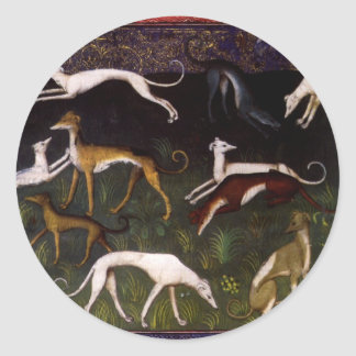 Medieval Greyhounds in the Deep Forest Classic Round Sticker
