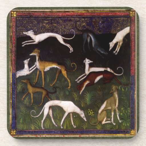 Medieval Greyhounds in the Deep Woods Drink Coaster