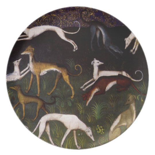 Medieval Greyhounds in the Deep Woods Melamine Plate
