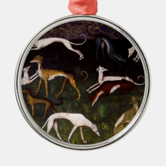 Medieval Greyhounds in the Deep Woods Metal Ornament