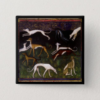 Medieval Greyhounds in the Deep Woods Pinback Button