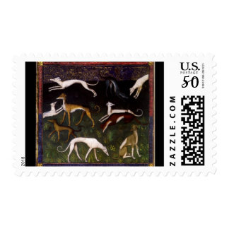 Medieval Greyhounds in the Deep Woods Postage
