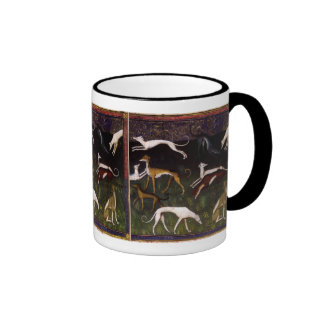 Medieval Greyhounds in the Deep Woods Ringer Coffee Mug