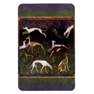 Medieval Greyhounds Run in the Deep Woods Magnet