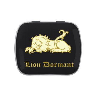 Medieval heraldic lion dormant on black jelly belly candy tins