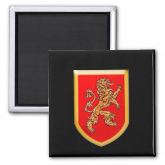 Medieval Heraldic Lion Shield 2 Inch Square Magnet