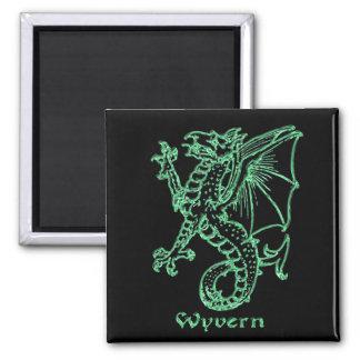 Medieval heraldry Wyvern 2 Inch Square Magnet