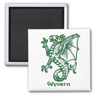 Medieval heraldry -Wyvern 2 Inch Square Magnet