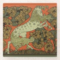 Medieval Horse Art Glass Coaster
