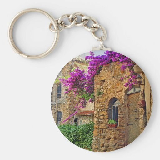 Medieval House in Charming Italy Basic Round Button Keychain
