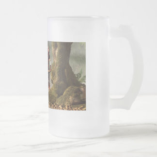 Medieval Huntress Frosted Glass Beer Mug