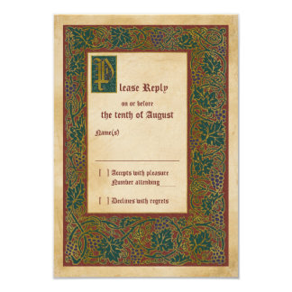 Medieval Illuminated Manuscript Wedding RSVP reply Card