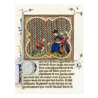 Medieval Illumination St Paul's Epistle Postcard