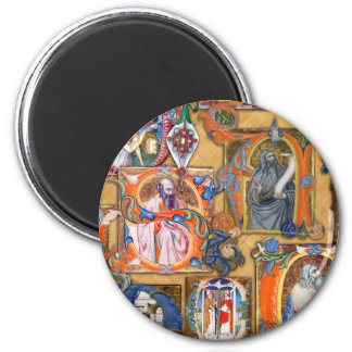 Medieval Illuminations 2 Inch Round Magnet