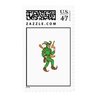 Medieval Jester Juggling Wooden Pins Drawing Postage