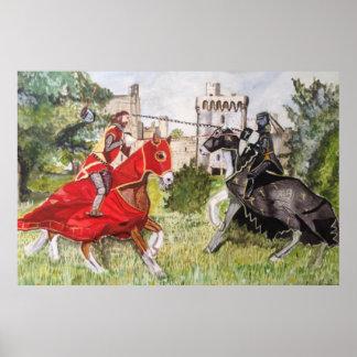 Medieval Joust against a Castle Poster