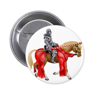 Medieval Joust Knight on Horse Button