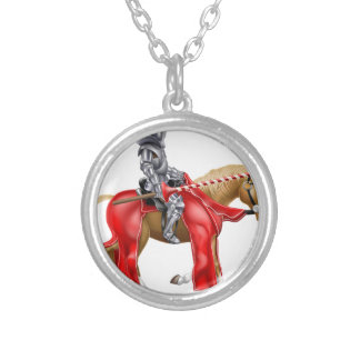 Medieval Joust Knight on Horse Round Pendant Necklace