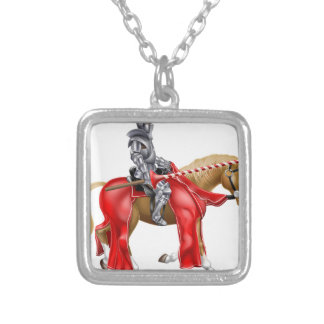 Medieval Joust Knight on Horse Square Pendant Necklace