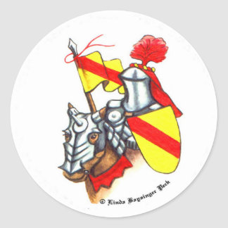 Medieval Knight and Horse Classic Round Sticker