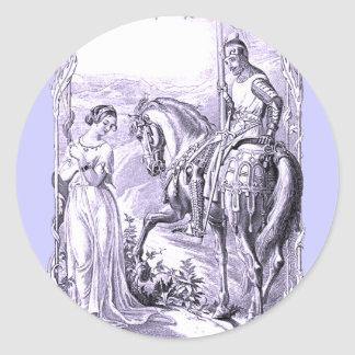 Medieval Knight and Lady Classic Round Sticker