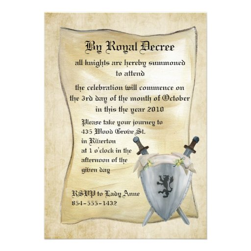 Personalized Medieval Invitations – Medieval Birthday Invitations