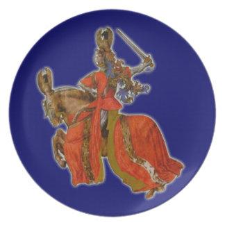 Medieval knight dinner plate