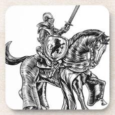 Medieval Knight Horse Vintage Woodblock Engraving Beverage Coaster